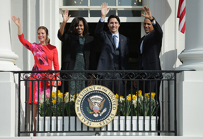 Sophie and Justin Trudeau with Obamas