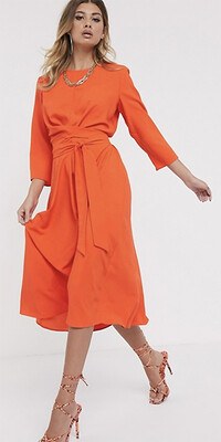 Orange ASOS dress with long sleeves