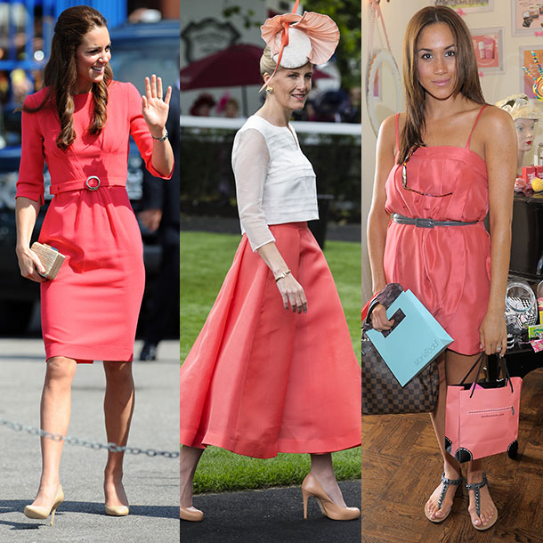 Members of the royal family looking chic in Coral (aka Pantone's Colour of the year for 2019)