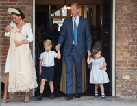 kate middleton and family at louis christening